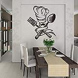 wZUN Cuisine Restaurant Chef Moustache Outil de Cuisine décor à la Maison cuillère Fourchette Autocollant Mural Vinyle 42X35 cm