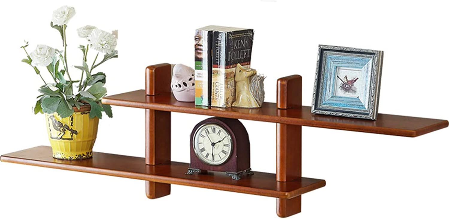Wall Decor Display Shelf, Bookshelf Flower Stand Solid Wood Storage Organizer Rack, for Home Bedroom Living Room Office (2 colors)