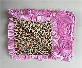 Rosy Kids Soft Baby Blanket, Outdoor Kit Standard Size for Baby Girl and Baby Boy, Baby Pink 3D Rosette Cheetah Print Velvet