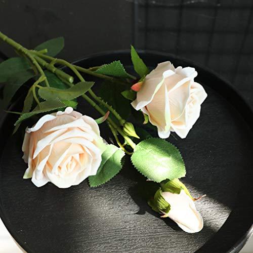 Hunpta @ Künstliche Rose Blumen, 1 Strauß 3 Köpfe Flanell Perle Rose DIY Hochzeitsstrauß Kunstblumen Blumenarrangement für Haus Büro Balkon Garten Hochzeit Party Valentinstag Dekoration