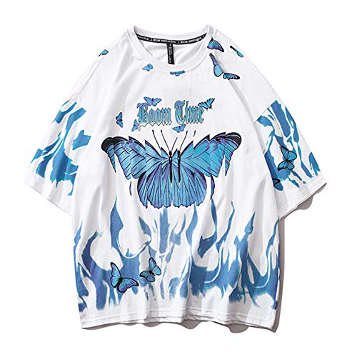 AFASSW Flame Butterfly Bedrucktes T-Shirt Übergroße T-Shirts 2020 Sommer Unisex Kurzarm Lose 100% Baumwolle Paar Tops T-Shirts, Weiße T-Shirts, L.