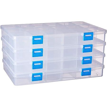 BENECREAT 4 Pack 18 Grilles Boîte de Rangement en Plastique Boîte à Bijoux avec séparateurs Ajustables Conteneurs de Rangement pour Boucles d'oreilles Etui à Billes en Plastique Transparent