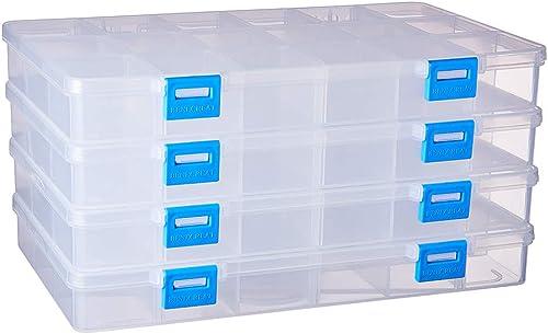 BENECREAT 4 Pack 18 Grilles Boîte de Rangement en Plastique Boîte à Bijoux avec séparateurs Ajustables Conteneurs de ...