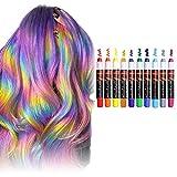 [Aktualisierung]10 Farben Haarkreide-Set, LauCentral Temporärer Haarfarben-Kreidekamm, waschbar mit...
