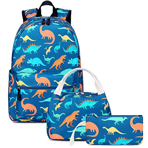 School Backpacks for Boys Dinosaur School Bags Lightweight for 7+ Years Old Kids Teen School Bookbags with Lunch Box and Pencil Case (Blue-Dinosaur)