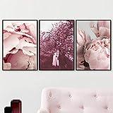 adgkitb canvas Rêve Fille Fleur Arbre Mur Art Toile Peinture Affiches Et Gravures...