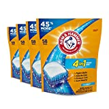 Arm & Hammer 4-in-1 Laundry Detergent Power Paks, Fresh, 58 Count (Pack of 4)