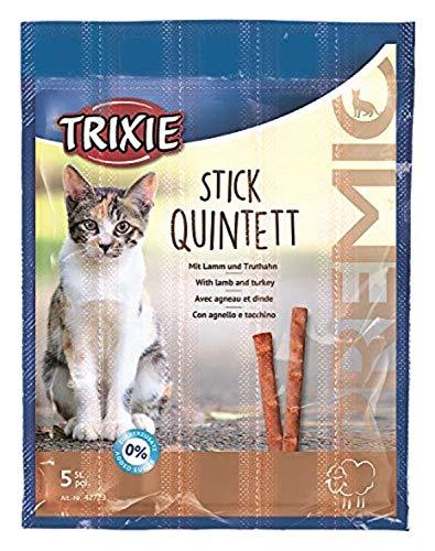 TRIXIE Snack PREMIO Quadro-Sticks, Cordero-Pavo, 5 × 5 g, Gato