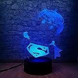 Mini estilo lindo Superman 3D USB iluminación LED 7 colores cambio de ilusión Teenager Room Desk Decor Creative Birthday Holiday Holiday