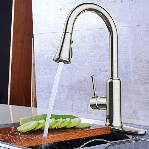 Winnprime Touchless Kitchen Faucet, Kitchen Sink Faucet with Pull Down Sprayer, Three Function Pull Out Spray Head,Brushed Nickel