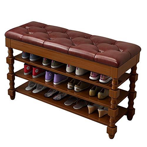 Schoenenmeubel Bamboo Bench schoenenrek voor schoenen, vestibule opbergen, schoenenhouder voor laarzen, moderne meubels met zacht zitkussen, ideaal voor entree