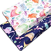 2PACK Dinosaur Changing Pad Cover for Boys and Girls, Twins Diaper Changing Table Pad Cover Sheets for Newborn, Washable, Soft Breathable
