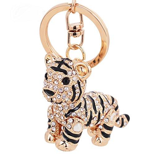 Aibearty Cute Tiger Shape Keychain Crystal Fashionable Car Accessories Gift Key Phone Bag Charm