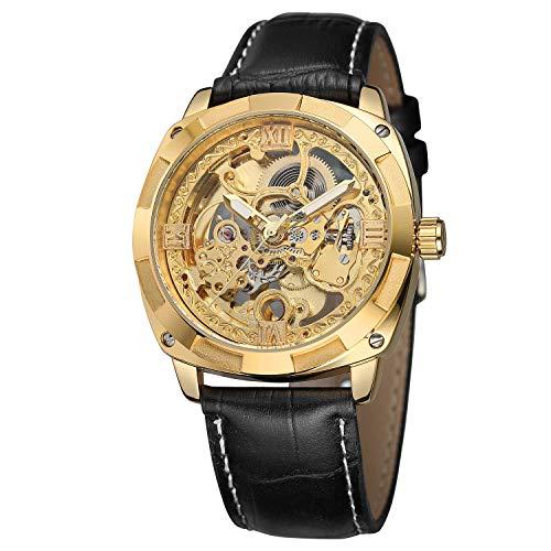 FORSINING - Reloj de Pulsera para Hombre de Alta Gama, Estilo Vintage, de Piel,...