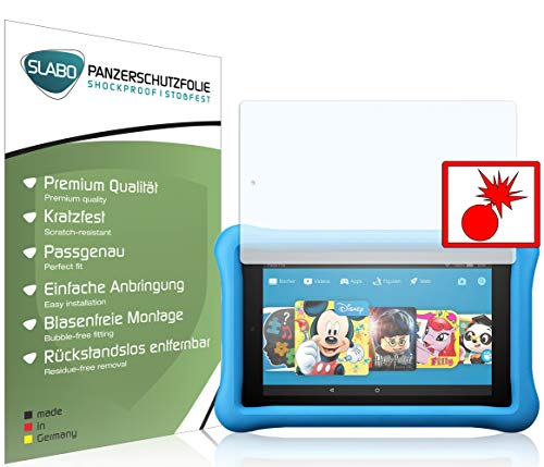 Slabo 2 x Panzerschutzfolie für Amazon Fire HD 8 Kids Edition (7. Generation - 2017) Panzerfolie Bildschirmschutzfolie Schutzfolie Folie Shockproof KLAR - unsichtbar Made IN Germany