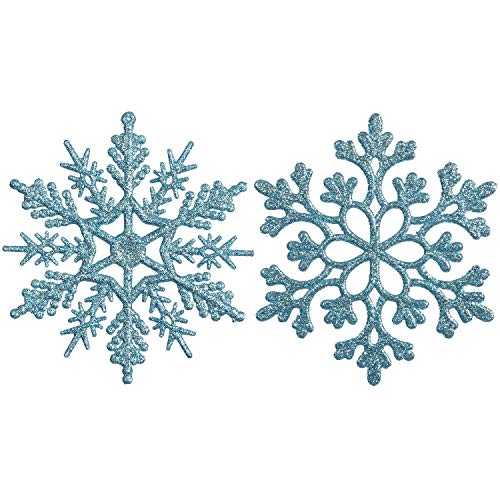 Sea Team Plastic Christmas Glitter Snowflake Ornaments Christmas Tree Decorations, 4-inch, Set of 36, Babyblue