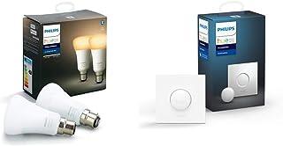 Philips Hue Pack de 2 Bombillas Inteligentes LED B22, con Bluetooth, Luz Blanca de Cálida a Fría, Control por Voz + Interruptor Smart Button, con Bluetooth y Compatible con Alexa y Google Home