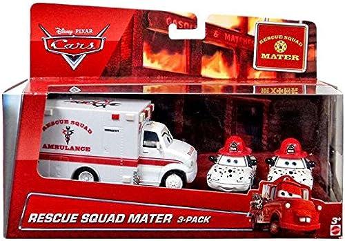 ventas en linea Disney Disney Disney Pixar Cars, Toon Exclusive Die-Cast Vehicles, Rescue Squad Mater 3-Pack [Rescue Squad Ambulance, Dalmation Mia, and Dalmation Tia], 1 55 Scale  para barato