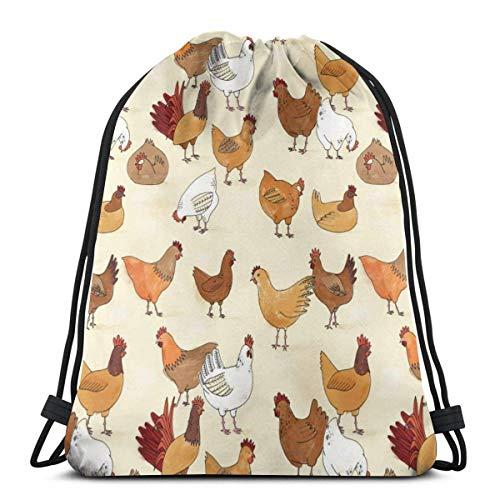 LREFON Borse da palestra con coulisse Zaino Chickens Time Sackpack Tote per sport Storage Scarpa Organizer Scuola Spalla Bottiglia d'acqua Bambini