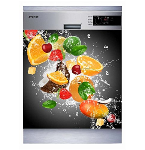 Sticker Cuisine Lave Vaisselle Gris Fruits 60x60cm SLV1094 (Fond Transparent)