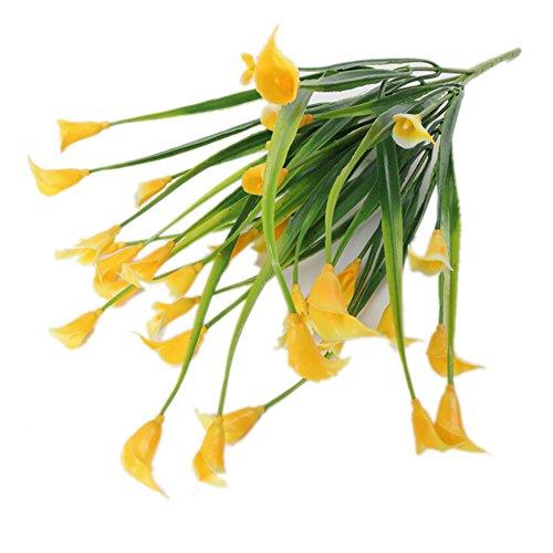 Gzzebo Fleur de lys artificielle en plastique pour la maison, le jardin, le bureau, la fête de mariage, 1 bouquet de 5 branches jaune