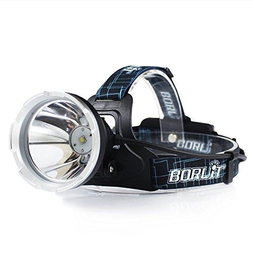 BORUIT Lampe Frontale Rechargeable LED, étanche IPX6, Lampe Frontale avec 3 Modes et Bandeau réglable, Meilleures Lampe Frontale pour Le Camping, la randonnée, l'escalade, la pêche, Le Jogging