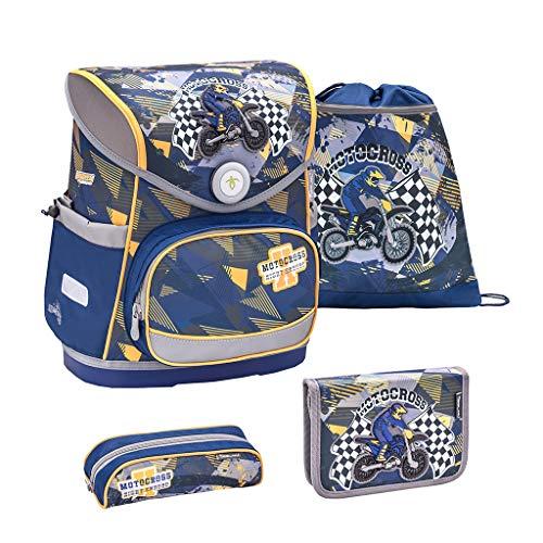 Belmil ergonomischer Schulranzen Set 4 -teilig für Jungen 1-4 Klasse Grundschule//Brustgurt/Magnetverschluss/Motorrad, Motocycle/Blau, Blue (405-41 Motocross)