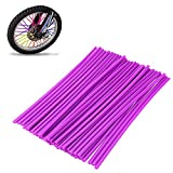 72Pcs/Lot Spoke Skin Covers, DIXIUZA Universal Protective Wheel Coil Wraps for Motorcycle Off-road SUV Bicycle (Purple)