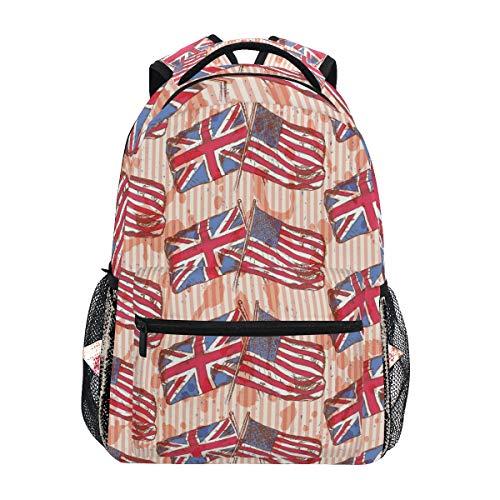 Mnsruu Vintage Union Jack American Flag Rucksack Daypack College Schule Reise Schultertasche