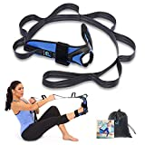 Foot and Calf Stretcher for Plantar Fasciitis, Achilles Tendonitis, Heel Spurs, Drop Foot. Yoga Stretching Strap for Leg, Thigh and Hip