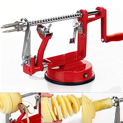 QYHSS Éplucheur De Pommes, 3 en 1 Pèle Pommes Métal pour de Fruits et Légumes, Éplucher Fruit Core Slice, Multifonction Cuisine Automatique Épluche pour Pommes de Terre (Rouge)