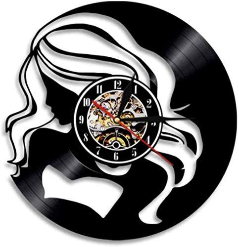 ttymei Reloj de Pared Reloj de Pared de Vinilo Hipsters Pelo Largo Señora Moda Compras Chica Disco de Vinilo Reloj Exótico Señora Arte de Pared Regalo Moderno para su Reloj de Pared
