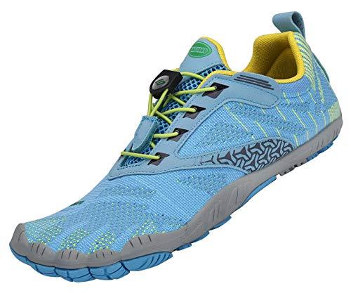 SAGUARO Zehenschuhe Unisex Barfußschuhe Atmungsaktive Traillaufschuhe rutschfeste Laufschuhe,05 Blau,38