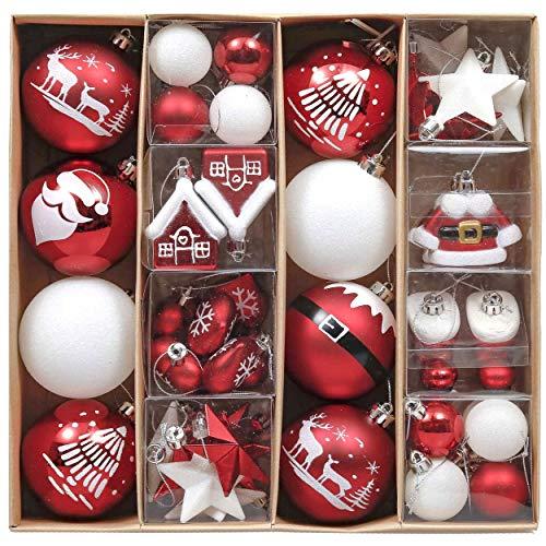 Valery Madelyn クリスマス オーナメント ユーロッパ風 紅白色 50個 セット 人気 クリスマスボール サンタの要素 おおじか 雪屋 長靴 ハート スター クリスマスツリー おしゃれ レッド シロ カラー 飾り 飾り付け メタルフック付
