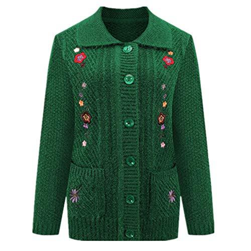 Damen Strickjacke Pullover Weibliche Herbst Winter Strickwaren Gr. 52, Grün 2