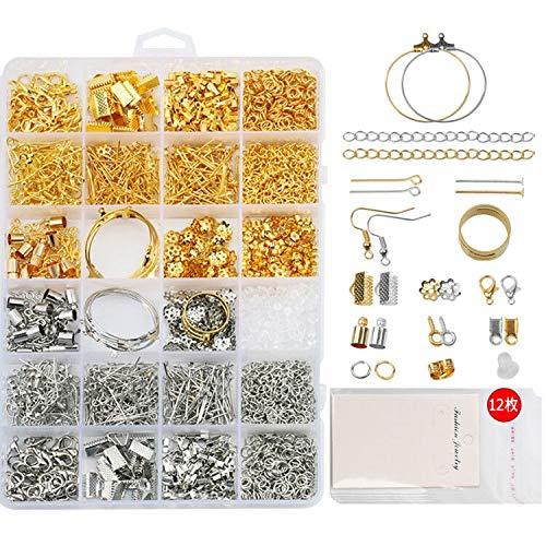 Sitengle アクセサリーパーツ ピアスパーツ 15種類 2色 約1733個 12枚ピアス台紙とOPP袋付き 金具パーツセ...