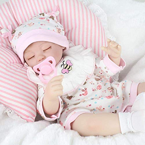 ZXYMUU Reborn Baby Doll Simulacin 45cm Cinta Corporal Silicona Cerrar Ojos para nias durmientes