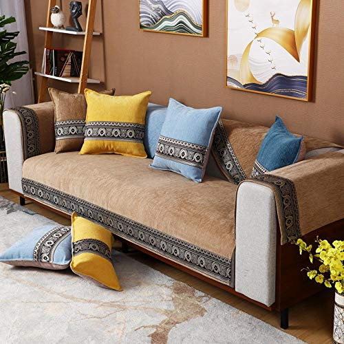 Hybad - Funda protectora universal para sofá, diseño de L, resistente al desgaste, protector de sofá de felpilla, moderna antideslizante para sofá, cada pieza se vende por separado, café, 90*70cm