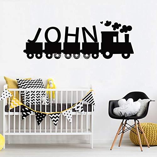 zqyjhkou Zug Rauch Wandtattoo Benutzerdefinierte Name Personalisierte Wandaufkleber Kindergarten Kinder Schlafzimmer wohnkultur Wohnzimmer Vinyl Kunst wandbild 90x30 cm