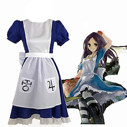 Alice in Wonderland Madness Return Cosplay Kostüm Lolita Anime Kleid Vintage Falten Rock Erwachsene Blau Karneval Fasching,A,XL