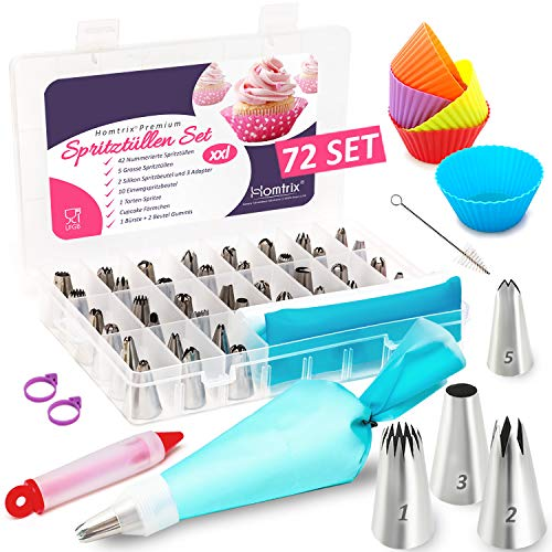 Homtrix 72-Teiliges Spritztüllen Set, 2 Spritzbeutel Silikon, 47 Nummerierte Edelstahl Tüllen, Cupcake Förmchen, 10 Einwegspritzbeutel, Tortenspritze + Broschüre