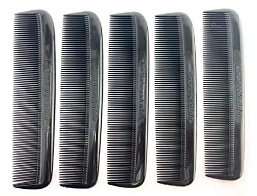 """GBS Men and Women 5 Pack All Fine Pocket Comb Black Unbreakable 5"""" - Great for travel - Used on all hair types - Men's Hair, Women's Hair, Beard, Mustache, and Sideburns"""