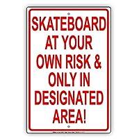 なまけ者雑貨屋 Skateboard at Your Own Risk & Only in Designated Area! Restriction 金属スズヴィンテージ安全標識警告サインディスプレイボードスズサインポスター看板