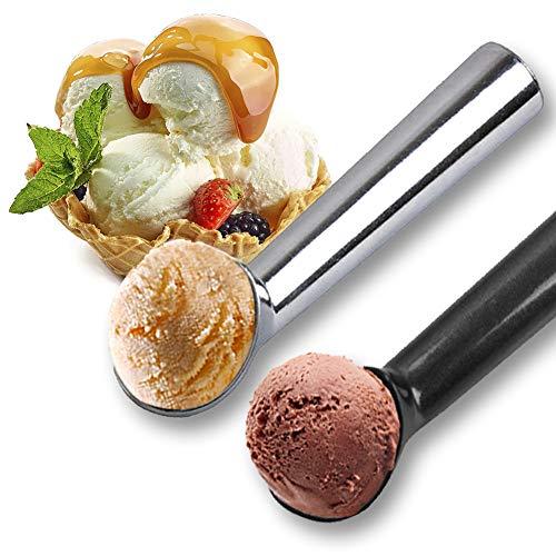 Juego de 2 cucharas de helado de aluminio,espátula profesional antiadherente para helado, Cuchara de Cocina Para Helado y Frutas y Puré de Papas,negro,plateado,18 cm