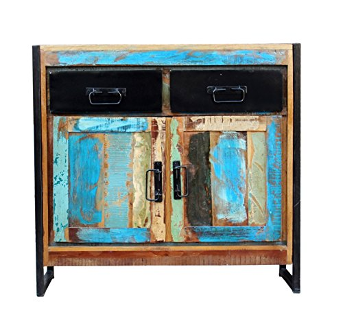 SIT-Möbel Bali 3509-98 Kommode mit 2 Schubladen, 2 Türen, Mangoholz, bunt lackiert, 90 x 35 x 85 cm