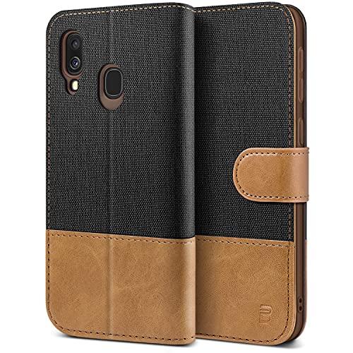 BEZ Handyhülle für Samsung Galaxy A40 Hülle, Tasche Kompatibel für Samsung Galaxy A40, Schutzhüllen aus Klappetui mit Kreditkartenhaltern, Ständer, Magnetverschluss, Schwarz