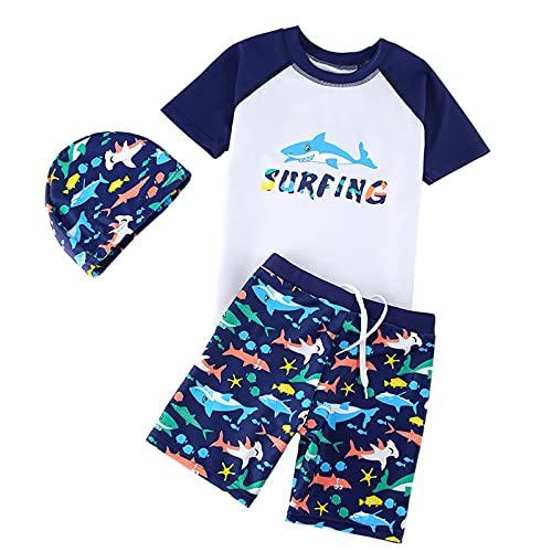 キッズ 水着 男の子 セパレート 3点セット 子供用 水泳 半袖ラッシュガード ショートパンツ スイムキャップ 日焼け防止 UVカット