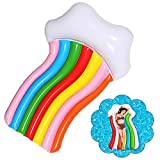 70.87x43.31in Inflable Rainbow Float Cloud Bed Swimming Ring, Water Party Toys Plegable Rainbow Floating Row Colchones de Aire para niños Adultos