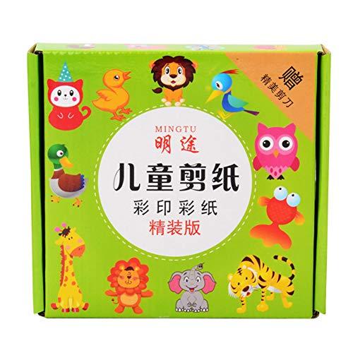 102 pages de papier sertis Kindergarten bricolage Early éducation Kirigami Fun Scissor Livres Activité de compétence avec A Ciseaux à sécurité enfants (Impression couleur)