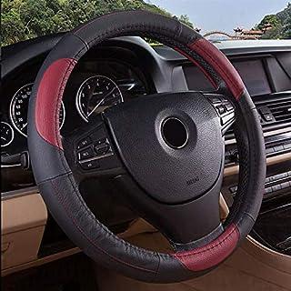 JCHUNL 15 pulgadas de tamaño de cuero genuino cuero de vaca anillo de rueda de la rueda para coche universal accesorios del coche (Color : Gray)